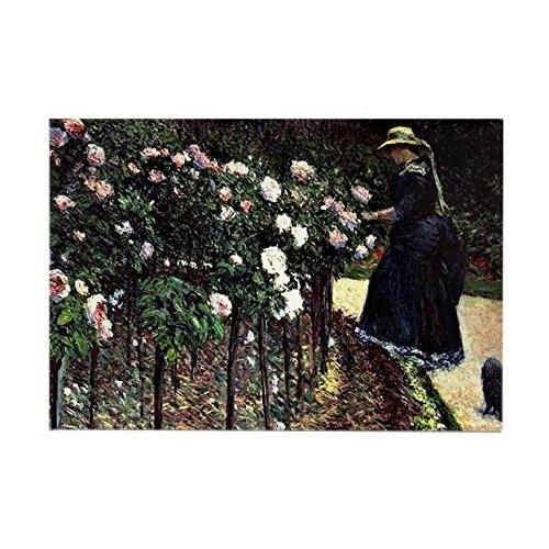 CafePress Caillebotte - Roses, Garden At Pe Rectangle Magnet, 2