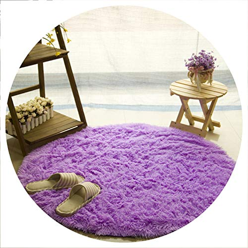 Fluffy Round Rug Carpets for Living Room Kilim Faux Fur Carpet Kids Room Long Plush Rugs for Bedroom Shaggy Area Rug White,Purple,Diameter 80cm