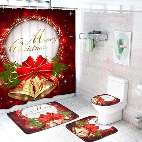 Alishomtll 4 Pcs Merry Christmas Shower Curtain Sets with Non-Slip Rugs, Toilet Lid Cover, Bath Mat and 12 Hooks Red Bell Bow Shower Curtain for Christmas Decoration (Sets Rug Curtain Bathroom And)