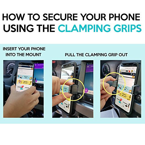 Air Vent Cell Phone Holder for Car with Adjustable Size Up to 6'' | Secure Double Clamp Grip, Compact & Durable Mount Compatible with All Smartphones (Grey) by Bestrix