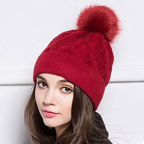 Hot Selling Womens Winter Hat Mink Raccoon Fur Pompom Female Caps Warm Fleece Inside Beanies Hats Tuque Hiver Femme (Color Red)