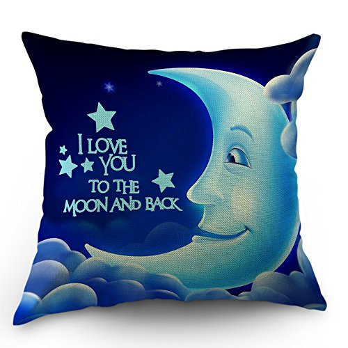 Moslion Quotes Pillow Case I Love You The Moon and Back Letter with Smile Moon Decorative Throw Pillow Case 18