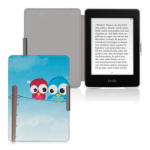 kwmobile Case for Amazon Kindle Paperwhite - Book Style PU Leather Protective e-Reader Cover Folio Case - blue red light blue by kwmobile (Image #5)