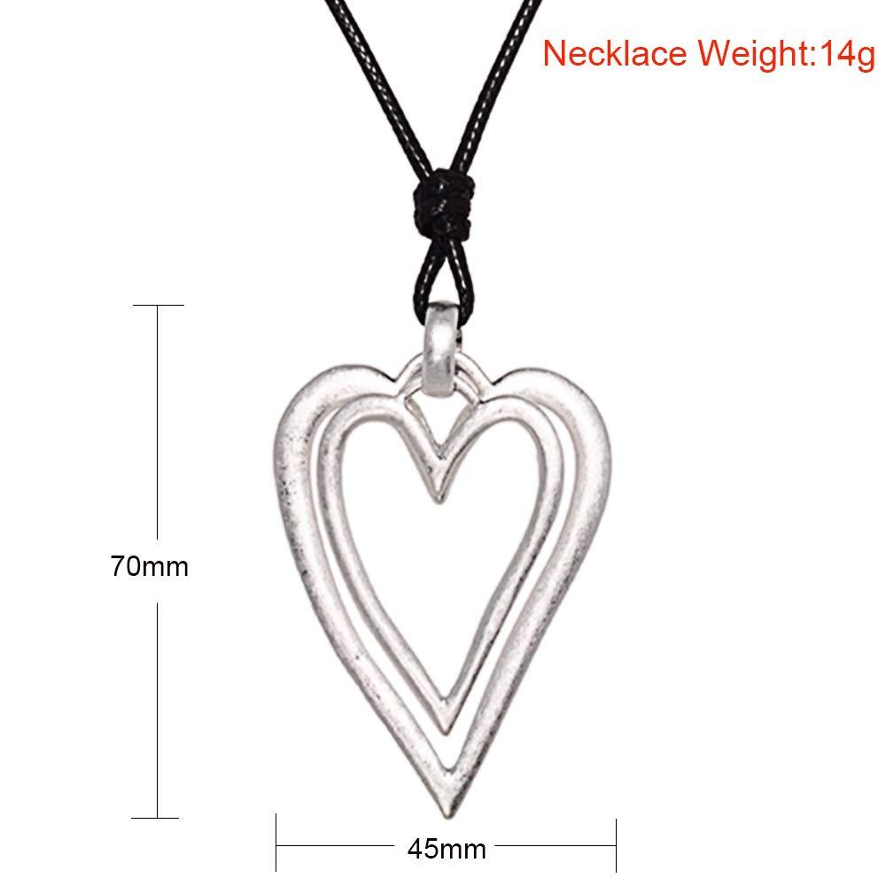 Amazon.com  ChengYu Matte Silver Women s Jewelry Matte Statement Heart Pendant  Necklace 3ccc640af9