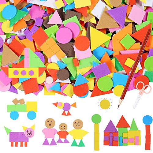 (Sntieecr 1000 Pieces Assorted Colors Foam Geometry Stickers Mini Self-Adhesive EVA Foam Stickers with a Drawing Pencil and Scissors for Children DIY Arts and Crafts (Circle, Square, Triangle) )