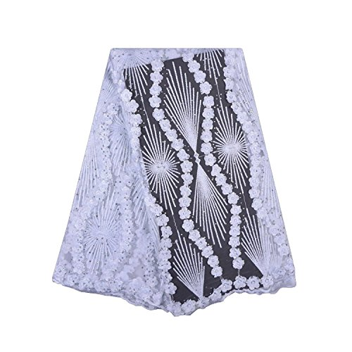 LaceQin 5 Yards African Lace Fabric Nigerian French Lace Embroidery Lace Fabric Three-Dimensional Embroidery Rhinestone Beaded Lace Fabric Wedding Party Dress (White) ()