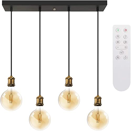 LUTEC G40 E26 Edison 4 Lights Glass Pendant Lighting Modern Hanging Light Fixture