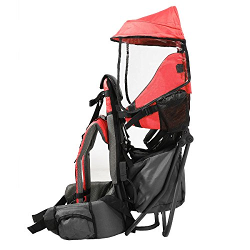 Baby Back Pack Cross Country Carrier Stand Child Kid Sun Shade Visor Shield Red by Clevr (Image #8)
