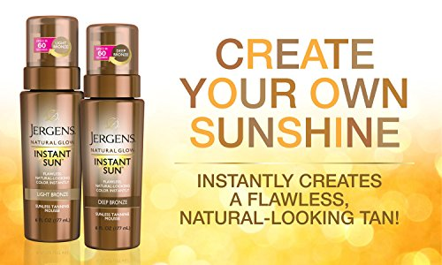 Jergens Natural Glow Instant Sun Sunless Tanning Mousse for Body, Deep Bronze, 6 Ounces