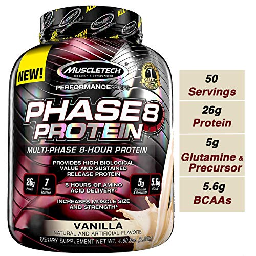 MuscleTech Phase8 Protein Powder, Sustained Release 8-Hour Protein Shake, Vanilla, 4.6 Pounds (2.09kg) (Best Weight Gainer For Dogs)