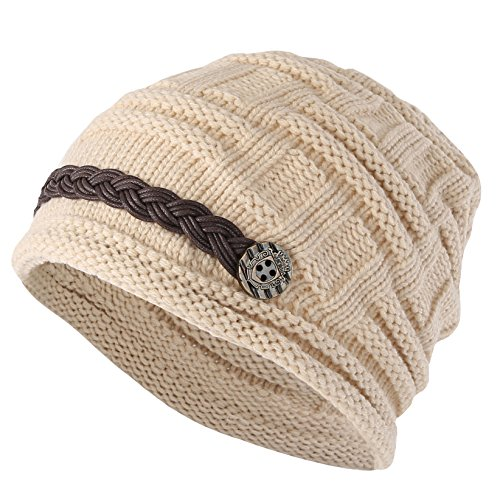 ELACUCOS Women Winter Beanie Cabled Checker Pattern Knit Hat Button Strap Cap