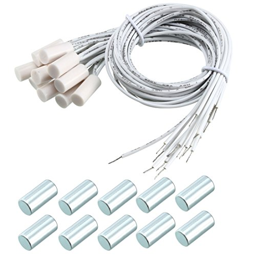 uxcell 10pcs HC-34A NC Recessed Wired Window Gate Contact Sensor Alarm Magnetic Reed Switch White