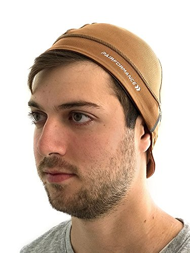 - PAIRFORMANCE Helmet Liner Skull Cap Beanie Hat Slouch Moisture Wicking Running Cycling (Brown)
