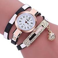 Las mujeres relojes mosunx (TM) Nueva de moda las niñas relojes Encanto envolver alrededor de Leatheroid cuarzo muñeca reloj novia regalo, Negro