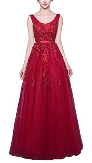 Callmelady Scoop Lace Prom Dresses Long Evening Gowns For Women Formal Party (Burgundy, UK4
