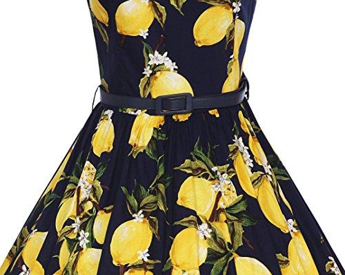 Moollyfox Mujer Retro 1950s Pin-up Limón Estampado Rockabilly Oscilación Cóctel Vestido con la Correa Azul Limón