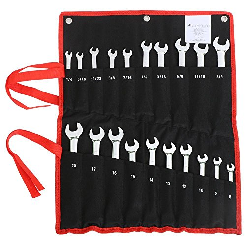 go2buy 20-Pcs Ratcheting Combination Wrench Set SAE Standard & Metric Chrome Steel Tool Roll Pouch (Ratcheting Wrench And Set Metric Standard)
