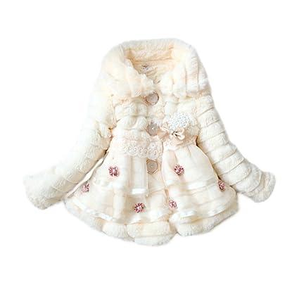 Abrigo de invierno para niñas ESHOO con pelo sintético blanco blanco Talla