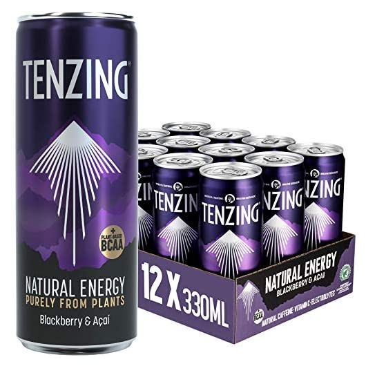 TENZING Natural Energy Drink, Plant Based, Vegan, & Gluten Free Drink, +BCAA, BlackBerry & Acai, 330ml (Pack of 12)