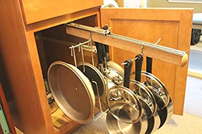 Legalized Pot Rack Pull Out Hanging Pot and Pan Lid Rack Cookware Organizer