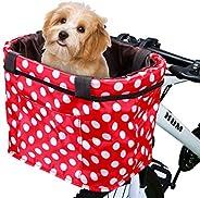 CamGo Bike Basket Multi-Purpose Bicycle Handlebar Bag with Hand Strap Detachable Bike Front Basket for Pet Car