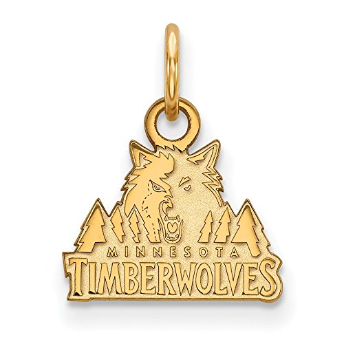 Roy Rose Jewelry 14K Yellow Gold NBA LogoArt Minnesota Timberwolves X-small Pendant / Charm by Roy Rose Jewelry