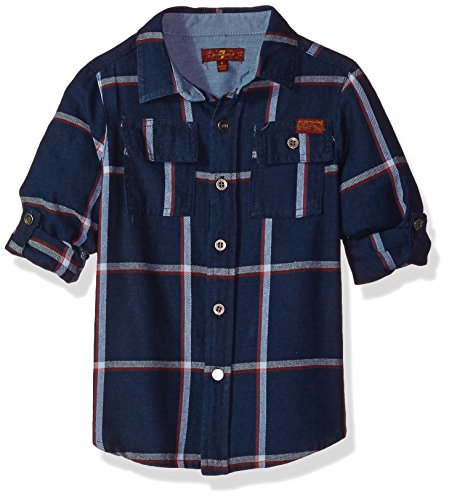 7 For All Mankind Little Boys Long Sleeve Sport Shirt More Styles Available Denim Plaid 5