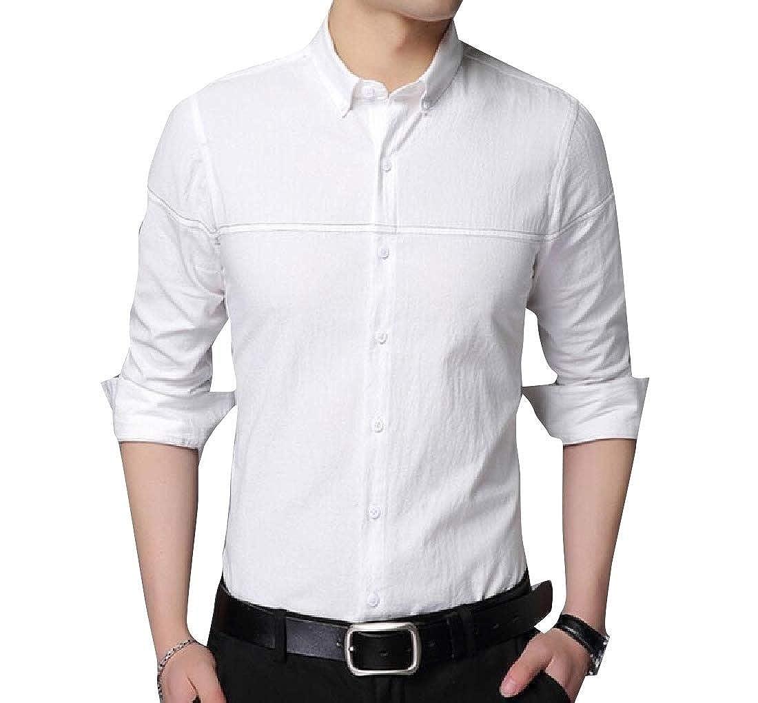 VividYou Mens Pure Colour Business Oversize Classic Button Down Shirt