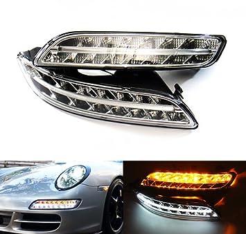 2 luces LED de cromo transparente para interruptor lateral, luz antiniebla, luz diurna DRL para 997 Carrera 911 2004 - 08 Gen I: Amazon.es: Coche y moto