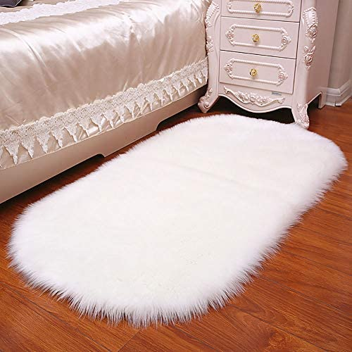 Luxury Premium Oval-Shaped Elliptic Faux Fur Fluffy Sheepskin Shaggy Home Bedroom Carpet Area Rug