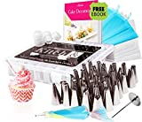 Professional Cake Decorating Kit | 48 Pcs High Grade Stainless Steel Decorating Tips Set Supplies and Reusable Icing Bags, Couplers, Nail Flower, Brush Cleaner | FREE eBook For Beginners