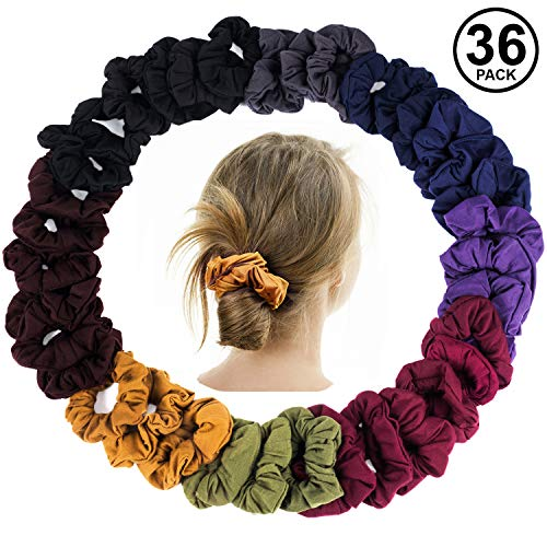 CoverYourHair Scrunchies for Hair - Pony Holders - Scrunchies Hair Tie - 36 Pk Assorted Scrunchies