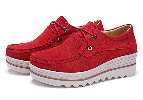 Toe Eagsouni On Women Low Wedge Mid Red Loafers Platform Shoes a Top Wide Slip Heel Moccasins Suede Casual qfPAqpr