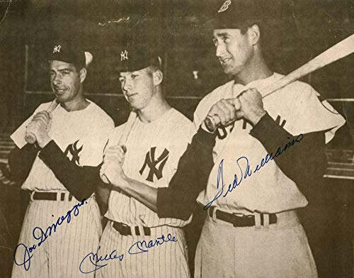 Mickey Mantle Ted Williams Joe DiMaggio Signed 11x14 Photo Beckett BAS - Beckett Authentication - Autographed MLB Photos