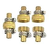Hanobo 1/2'' Brass Garden Hose Repair Mender Male Female Connector Stainless Clamp (3 Set-6Pcs)