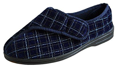 Neuf Pour Hommes De luxe Confort Chaussons À Velcro Marine taille EU 23 - 12