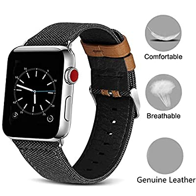 Compatible Apple Watch Bands with Screen Protector Case Cover,38mm/42mm Women Men Canvas Fabric with Genuine Leather Straps with Metal Clasp Compatible iwatch Series 3/2/1 Edition Nike+ (Black, 42mm)