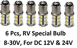 6 X Gold Stars 10760090-06 LED Replacement Bulb 1076 Base 200 Lums 12v or 24v Natural White