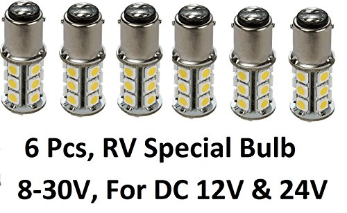 Gold Stars 6 X 10760090-06 LED Replacement Bulb 1076 Base 200 Lums 12v or 24v Natural White