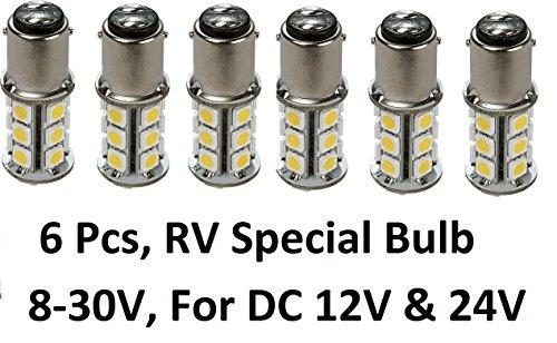 Gold Stars 6 X 10760090-06 LED Replacement Bulb 1076 Base 200 Lums 12v or 24v Natural White