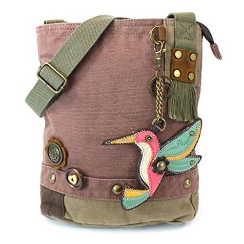 Cross Canvas Hummingbird Bag Charm Messenger with Mauve Butterfly Bird Chala 3D Patch Body Sq6RRF