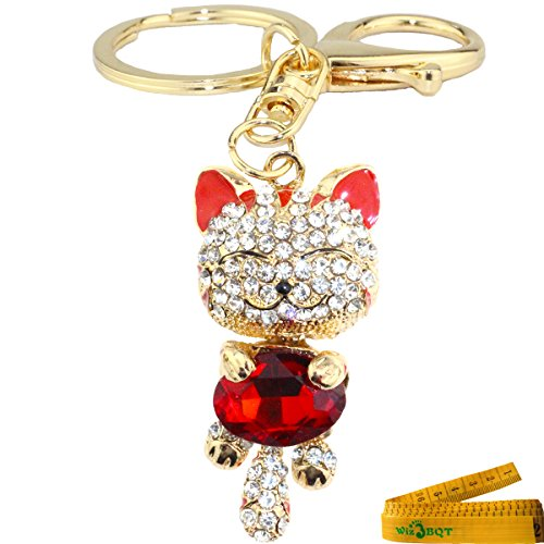 Cute Kitten Cat Charming Bling Bling Crystals Rhinestone Metal Keychain Key Ring Handbag Cell phone Purse Hanging Charm Pendent Decor Gift (Red)