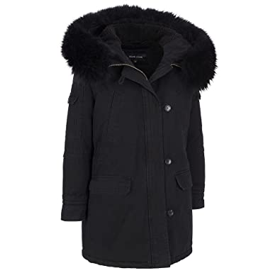 Black Rivet Womens Cotton Anorak W/ Fur Hood at Amazon Women's ...