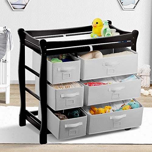Kealive Baby Changing Table, Infant Diaper Changing Table Wood with 6 Baskets, Dresser Nursery Station with Pad and Safety Strap for Baby, BPA Free, 37.5″L x 19″W x 37.5″ H, Black