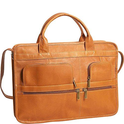 David King Leather Multi Pocket Organizer Briefcase in Tan David King Tan Briefcase