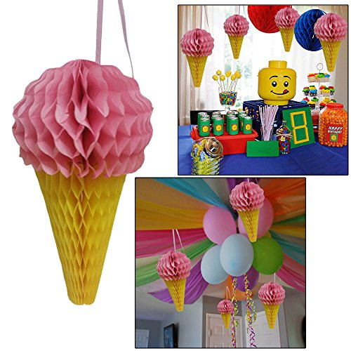 Ice Cream Hanging Pink Paper Decoration Set Of 4, Ice Cream Party Honeycomb Decorations. Great For Summer and Beach Parties, Birthdays and More. Ideal For Indoor and Outdoor Use. -