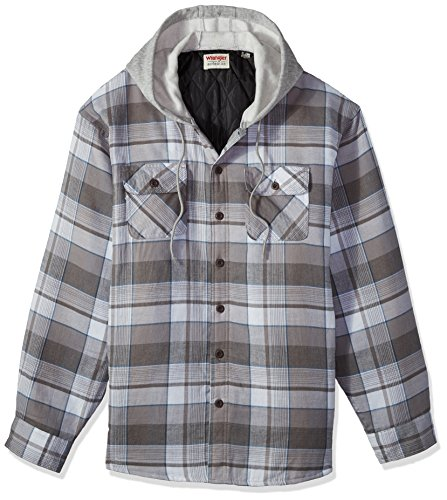 Wrangler Authentics Men's Long Sleeve Quilted Lined Flannel Shirt Jacket with Hood, Cloud Burst with Gray hood, 3XL