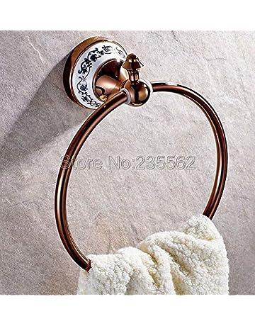 Joeesun Rose Golden Brass Base de Porcelana Redonda Baño Toalla Anillo Toallero Estante Montado En La