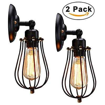 Wire Cage Wall Sconce, KingSo 2 Pack 240° Adjustable Industrial Oil Rubbed Bronze Wall Light Shade Fixture Vintage Style Edison Mini Antique Outdoor Light Inside Shed For Garage Gate Porch (No Bulb)