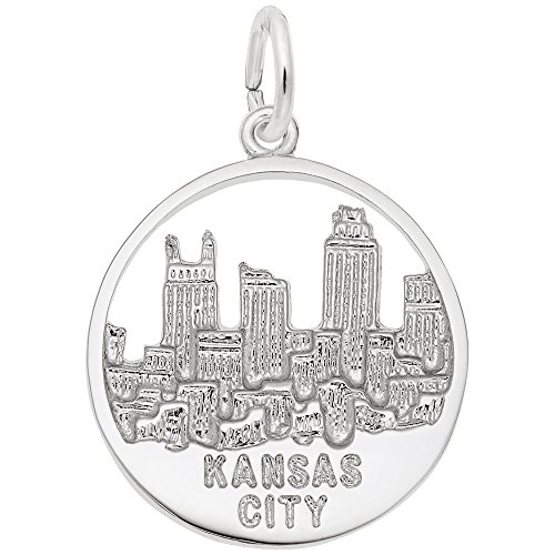 Kansas City Skyline Charm In Sterling Silver, Charms for Bracelets and Necklaces